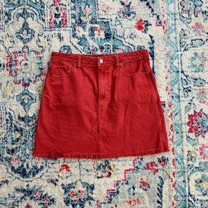 Red denim Abercrombie skirt